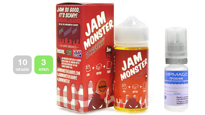 Жидкость JAM MONSTER Strawberry (пробник, 10 мл, 3 мг/мл)
