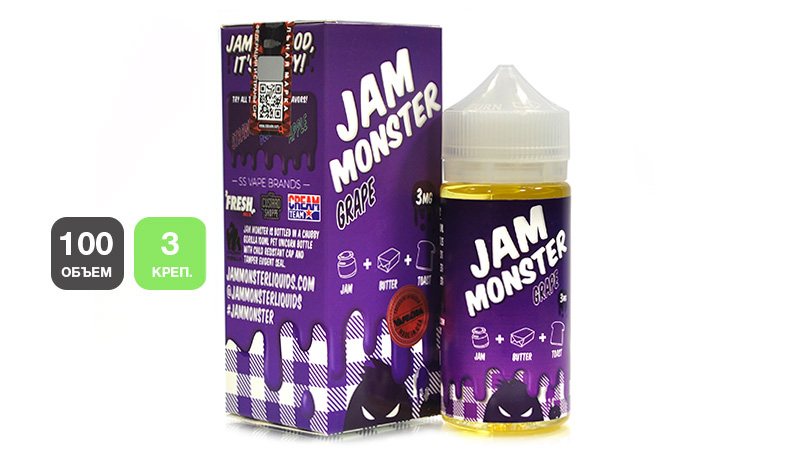 Жидкость JAM MONSTER Grape (100 мл, 3 мг/мл)