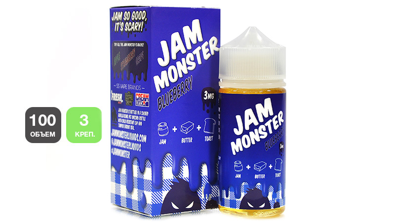 Жидкость JAM MONSTER Blueberry (100 мл, 3 мг/мл)