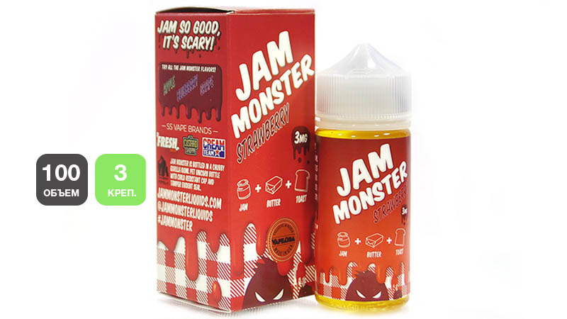 Жидкость JAM MONSTER Strawberry (100 мл, 3 мг/мл)