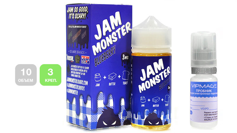 Жидкость JAM MONSTER Blueberry (пробник, 10 мл, 3 мг/мл)