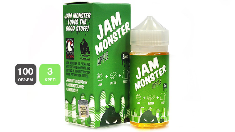 Жидкость JAM MONSTER Apple (100 мл, 3 мг/мл)