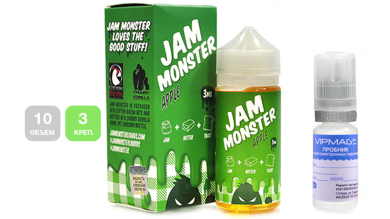 Жидкость JAM MONSTER Apple (пробник, 10 мл, 3 мг/мл)