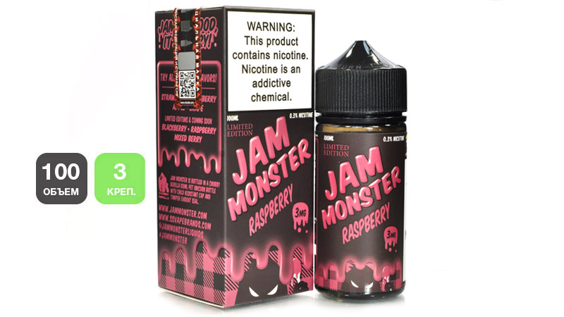 Жидкость JAM MONSTER Raspberry (100 мл, 3 мг/мл)